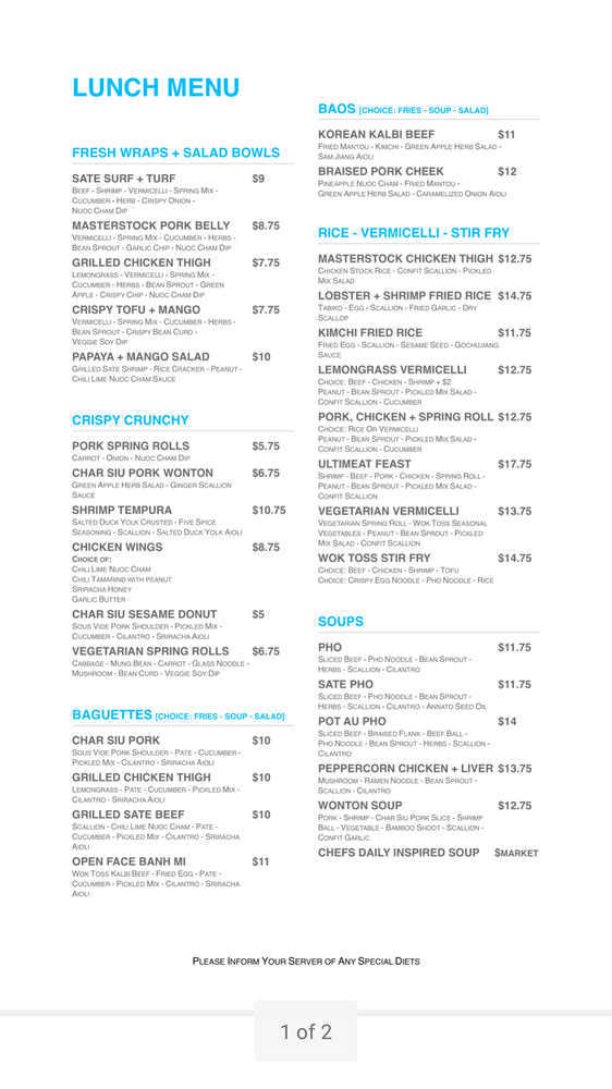 Lunch menu 11am 5pm Appys are half price between 2pm