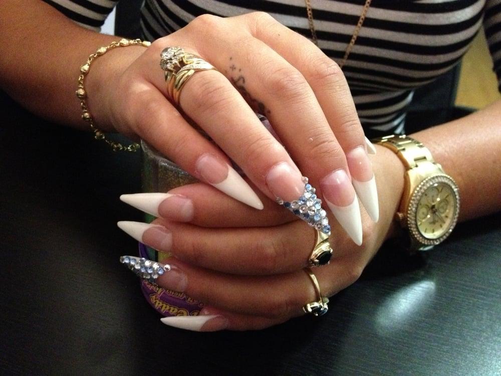 French Stiletto Nails with Swarovski Crystals - Yelp