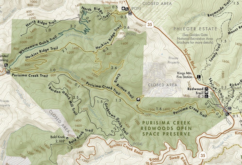 Photo of Purisima Creek Redwoods Preserve - Redwood City, CA, United States. Purisima Creek Redwoods Hiking Map.