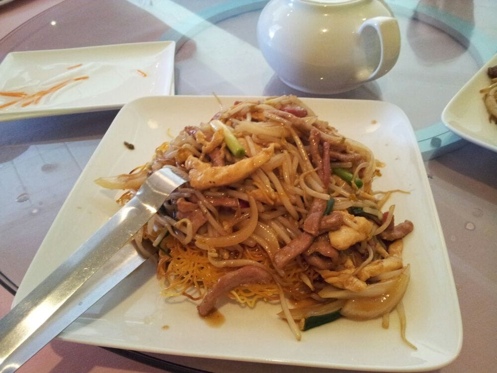 triple delight pan fried noodle pork chicken beef  yelp