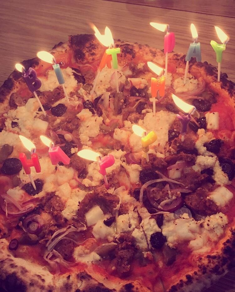 Birthday Candles I Brought With Me On Their Vegan Pizza