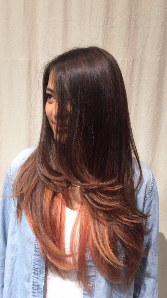 Rose Gold Balayage Ombre Hair Color On Asian Hair Yelp