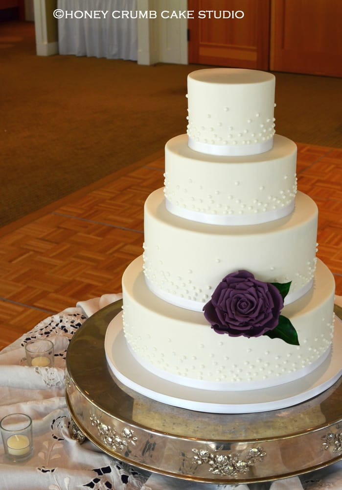 piped pearl wedding cake with handmade sugar rose in deep purple top two tiers are gluten free. Black Bedroom Furniture Sets. Home Design Ideas