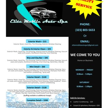 Elite Mobile Auto Spa - CLOSED - Car Wash - Florence ... on elite home care, senior home services, express home services,