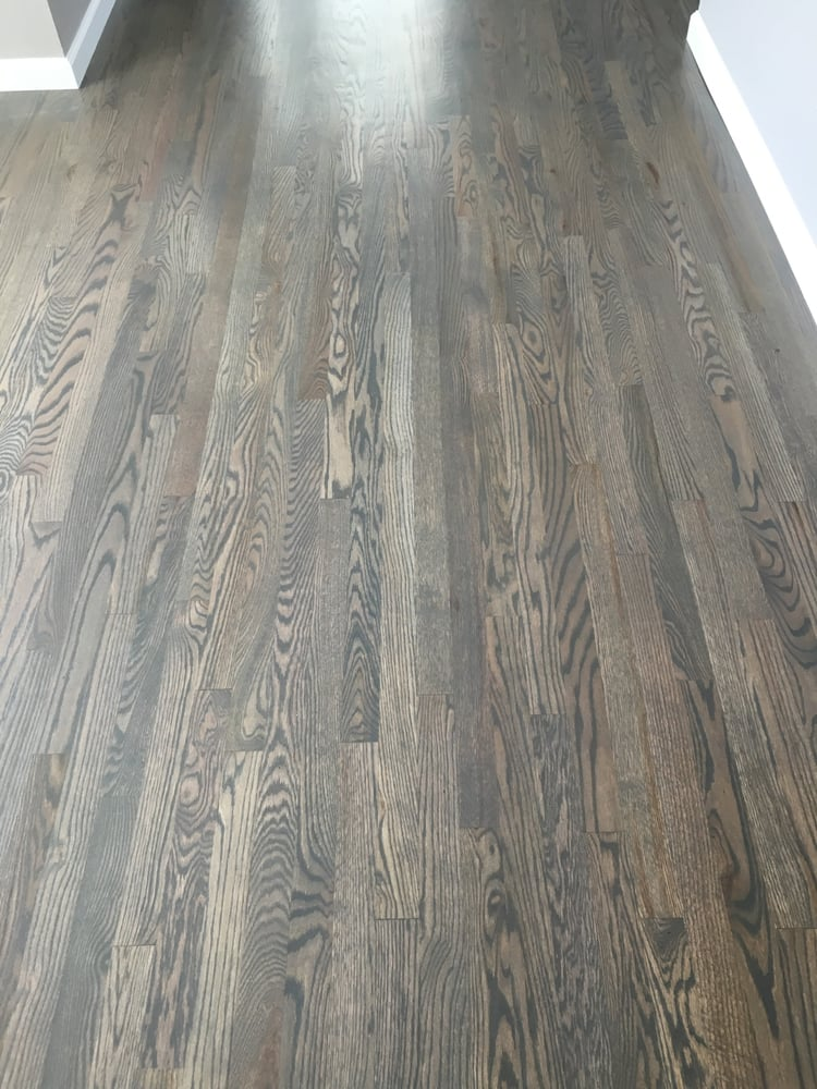 1078 Sqft New 2 Amp 1 4 Quot Red Oak Install Sand Custom Stain