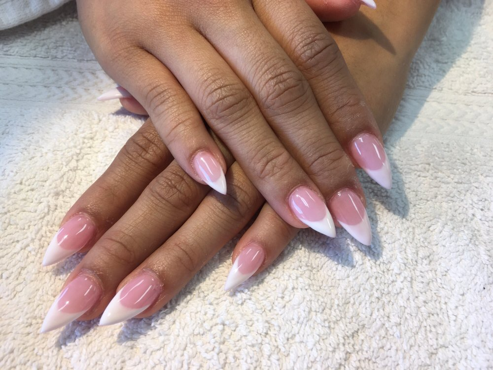 Pointy oval French tip set done by Tom - Yelp