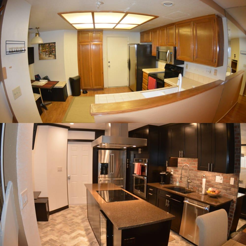 Before: Dated Kitchen, Door Hits Fridge, Bad Design. After