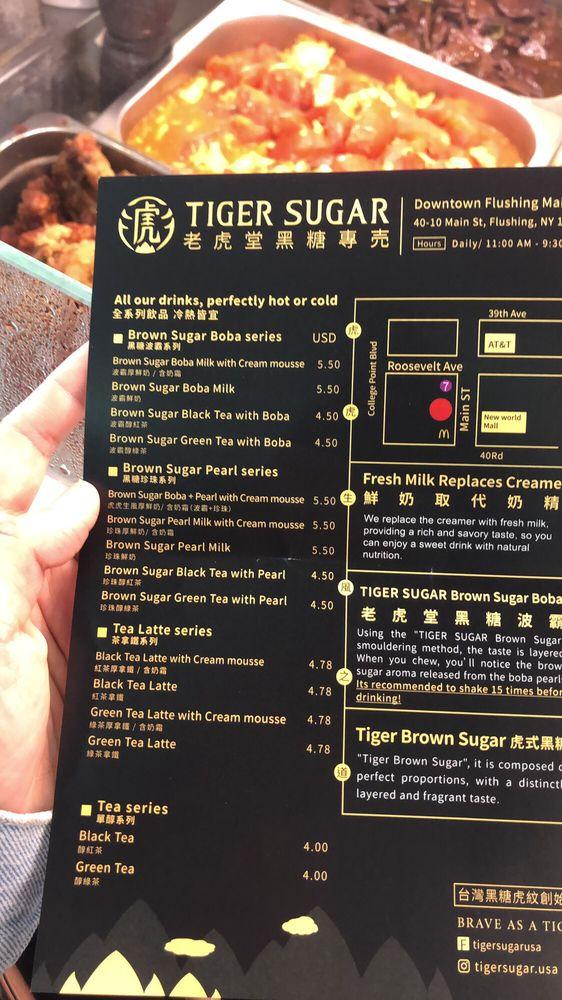 Tiger sugar bubble tea menu