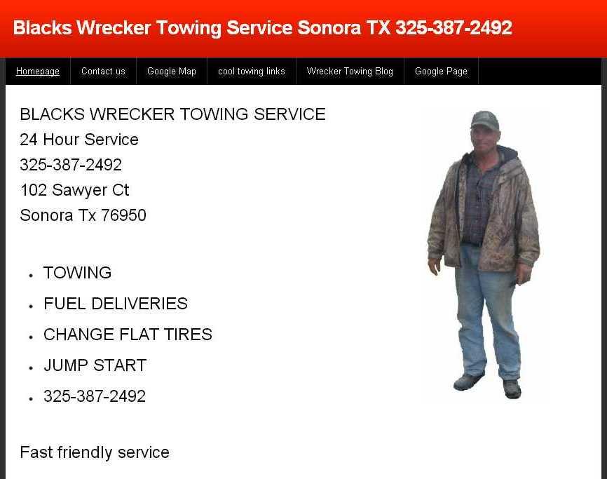 Blacks Wrecker Towing Service: 102 Sawyer Ct, Sonora, TX