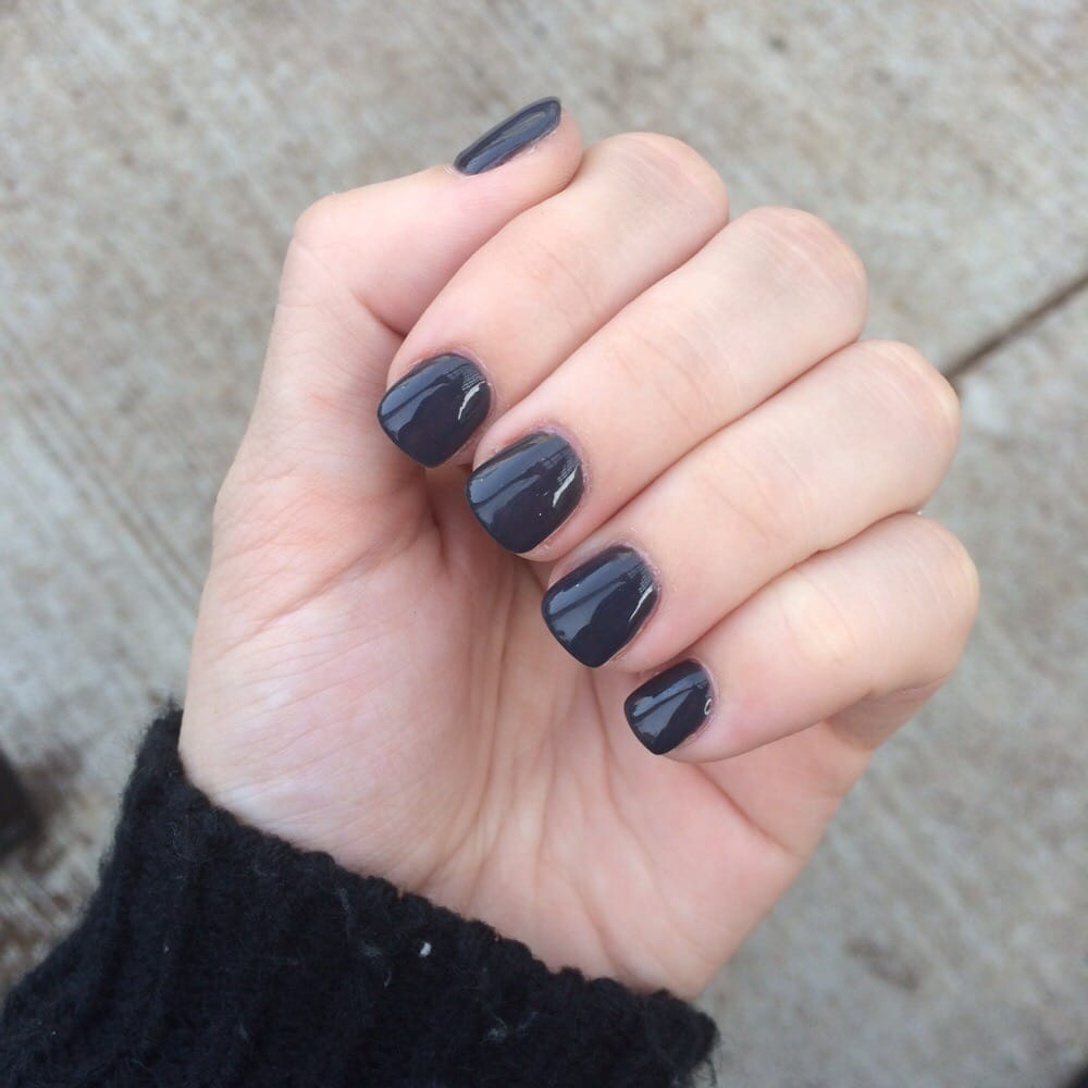 Acrylic nails with Space Grey gel nail polish. $45! - Yelp