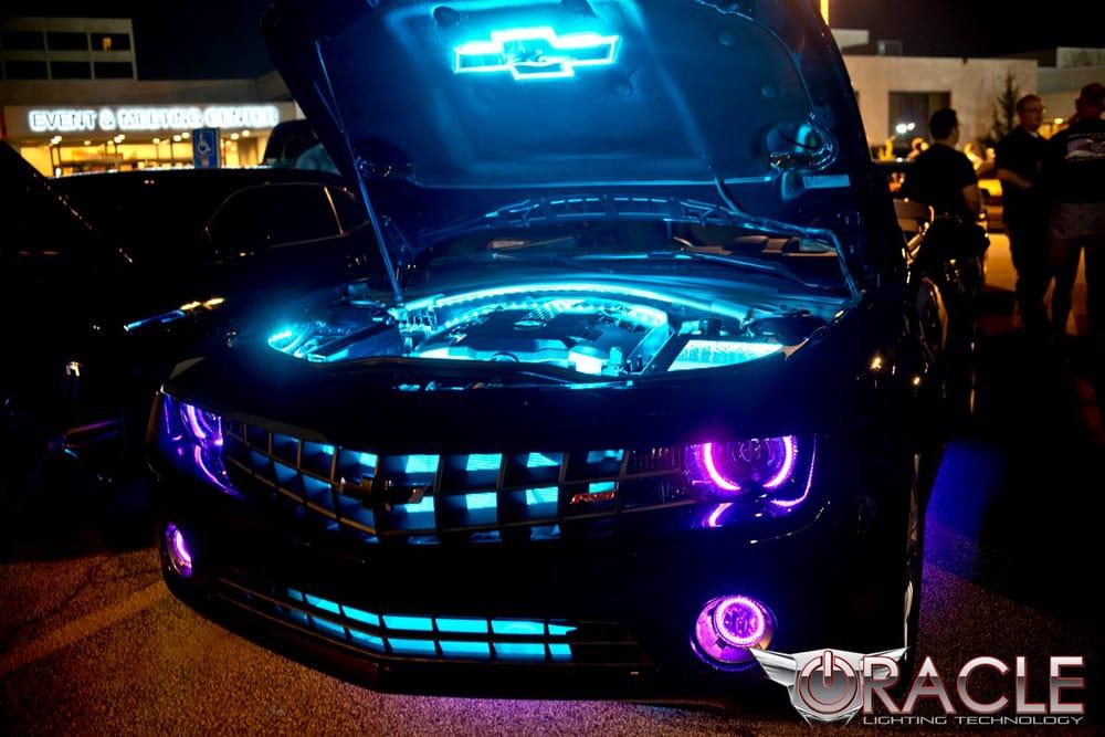 Chevy Camaro With Purple Modified Headlights And Custom