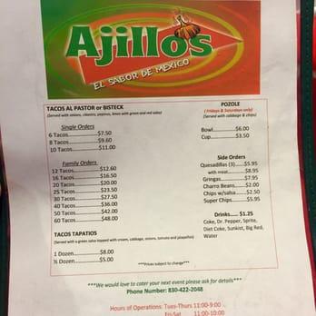 Ajillos Restaurant Menu