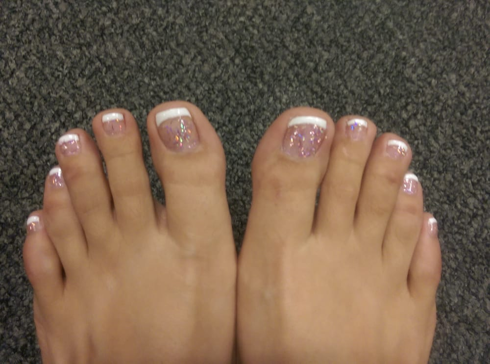 French pedicure with sparkly pink base - Yelp