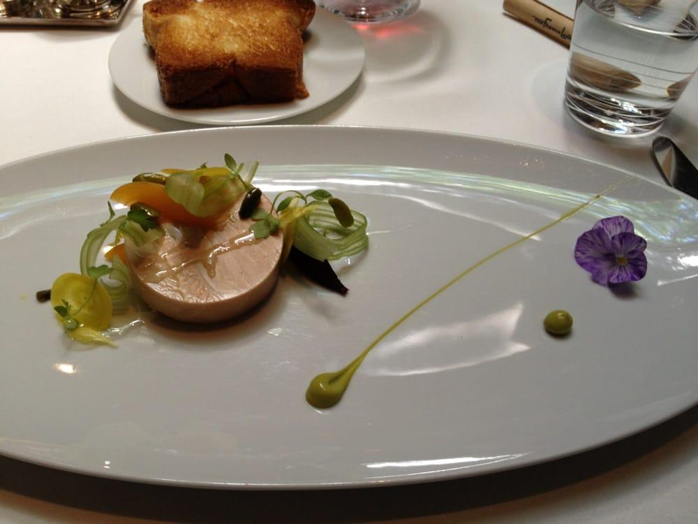 Moulard duck foie gras au torchon, apricot, celery branch ...