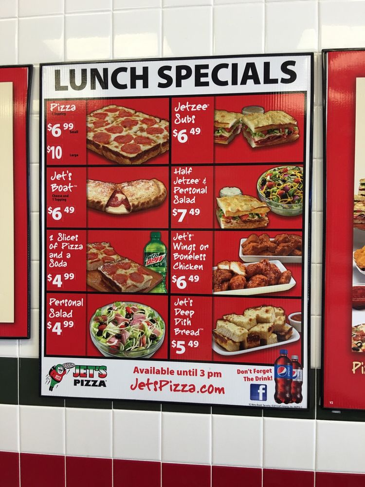 Regular prices and the entire menu of Jet's Pizza, including BBQ chicken, grilled chicken, salads, subs and drinks. Find your favorite food now/5().