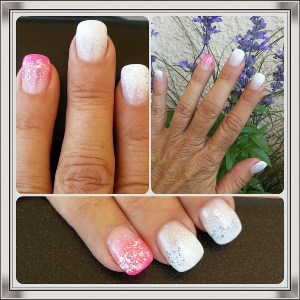 White Gradation Today. A 14 Pink Accent Nails.