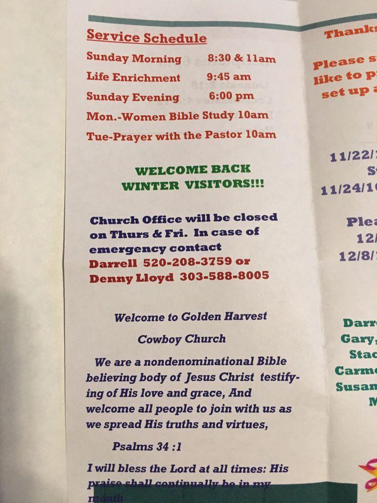 Golden Harvest Cowboy Church: 13044 S Sunland Gin Rd, Arizona City, AZ
