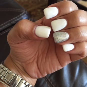 White Tip Gel Nails With Glitter Papillon Day Spa