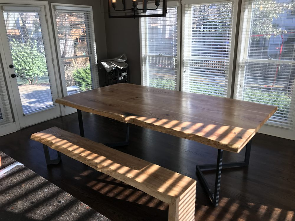 Awesome Live Edge Ash Dining Room Table And Waterfall Bench Yelp Download Free Architecture Designs Rallybritishbridgeorg