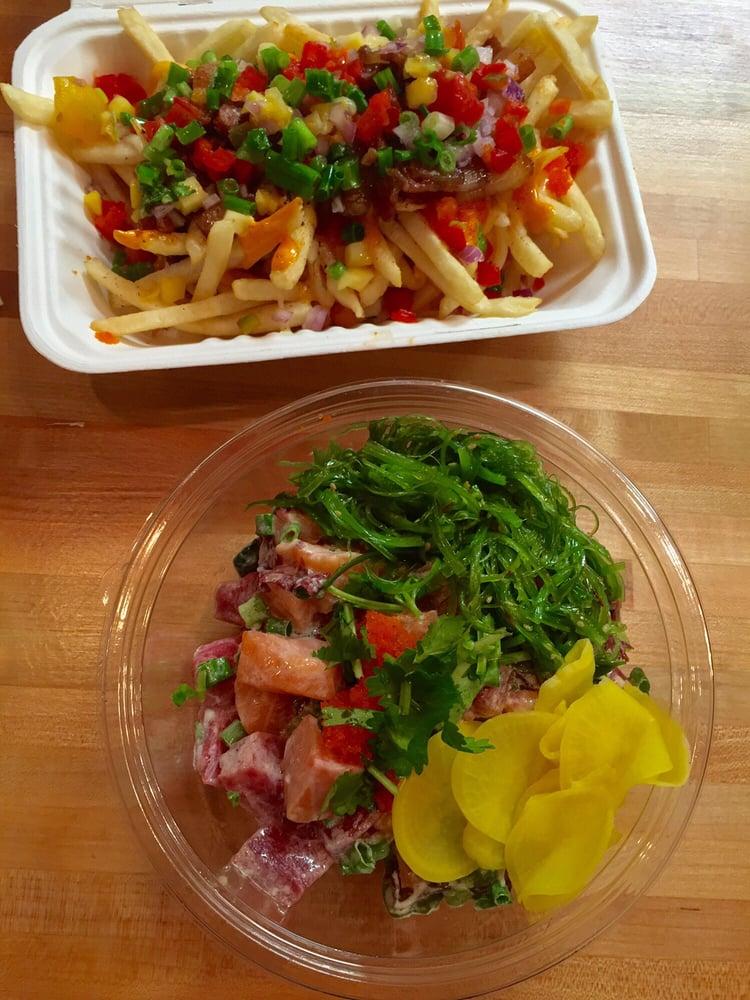 Pork belly asada fries top poke bowl yelp for Fish me poke menu