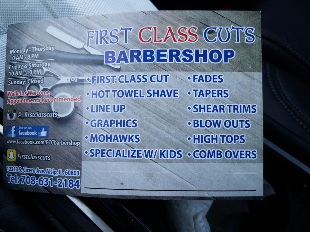 First Class Cuts Barber Shop: 12213 S Cicero Ave, Alsip, IL