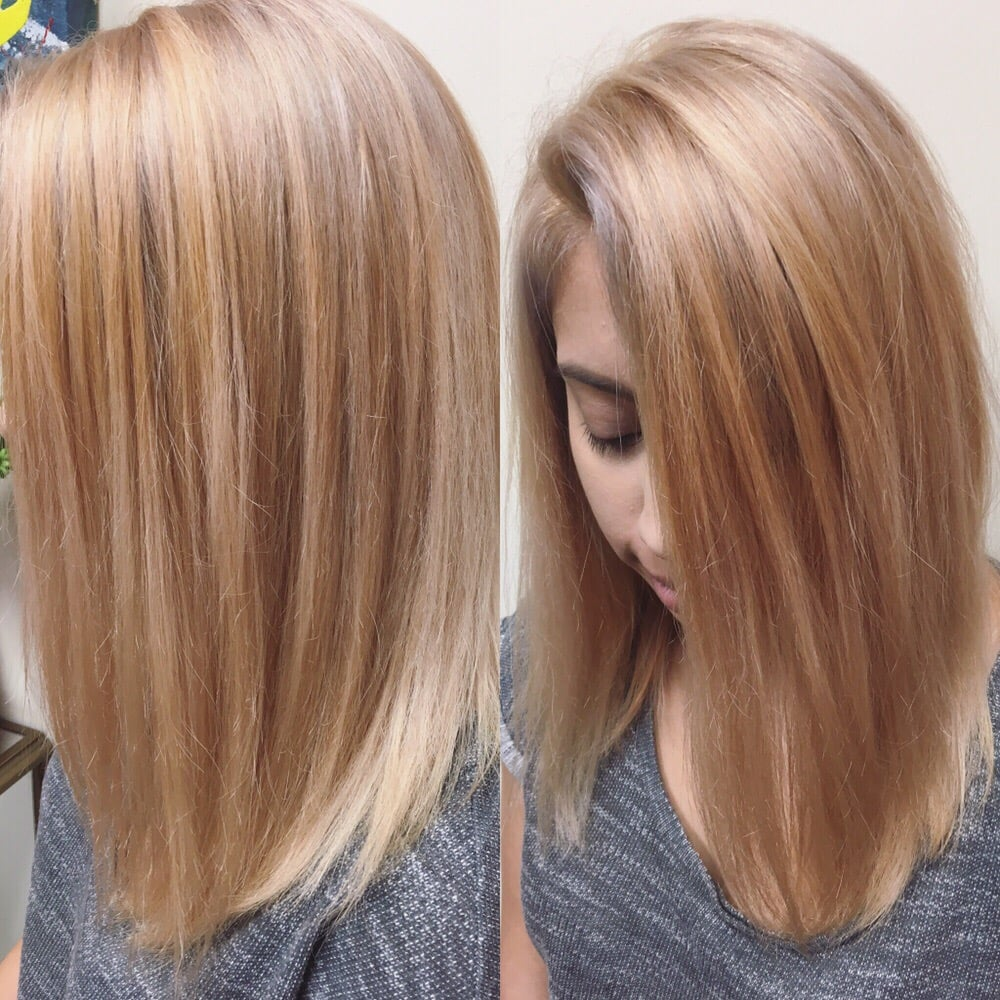 Strawberry Blonde Balayage Highlights Long Bob Haircut Yelp