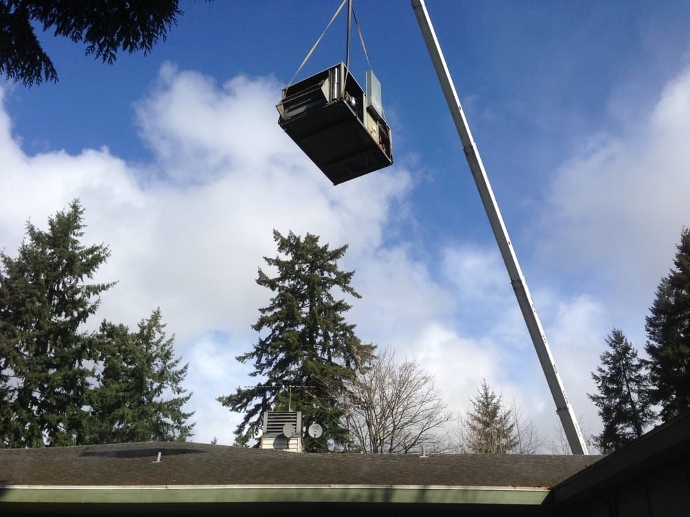 Mobile Crane Near Me : Crane lifting roof top unit yelp
