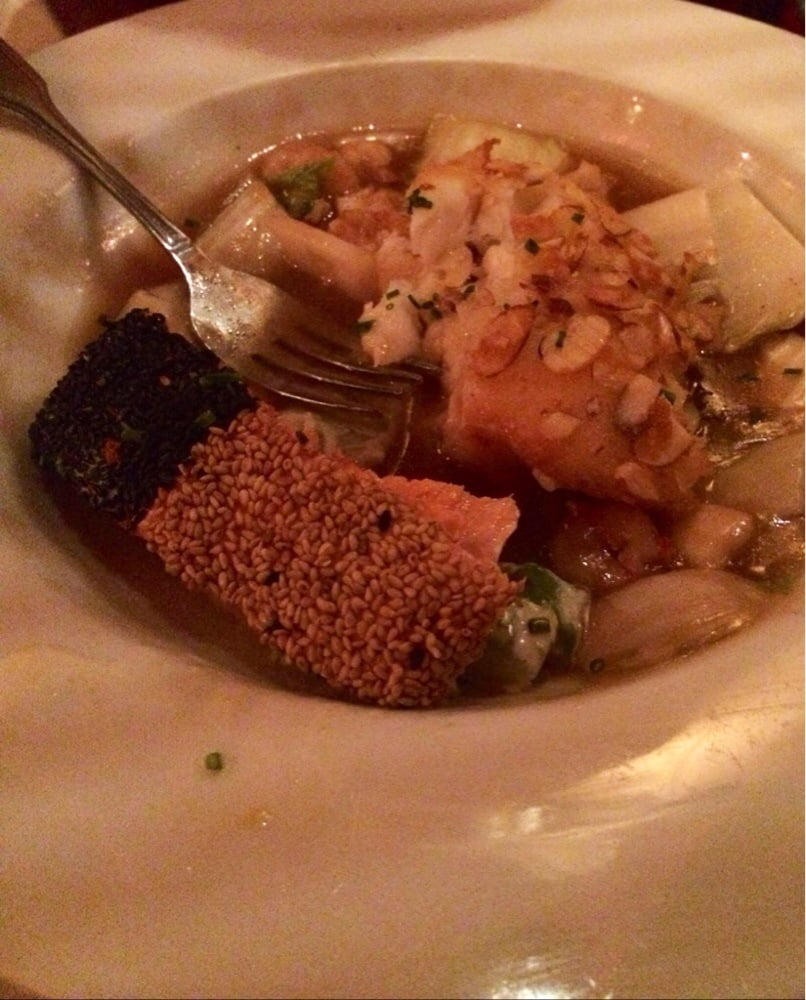 Salmon and almond sea bass yelp for Flying fish carmel