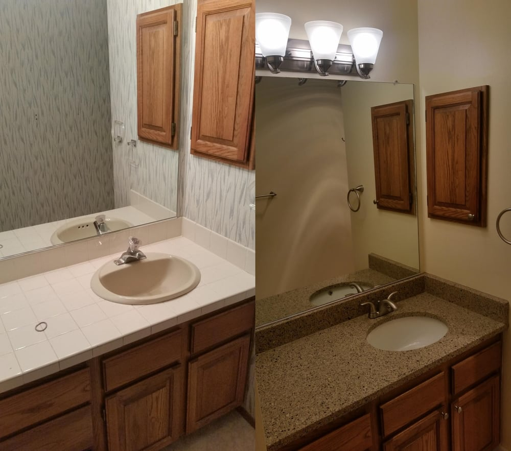 Before after of the master bathroom remodel on a very for Bathroom repair and remodel