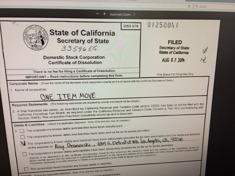 Their Certificate Of Dissolution This Company Is A Scam They Are
