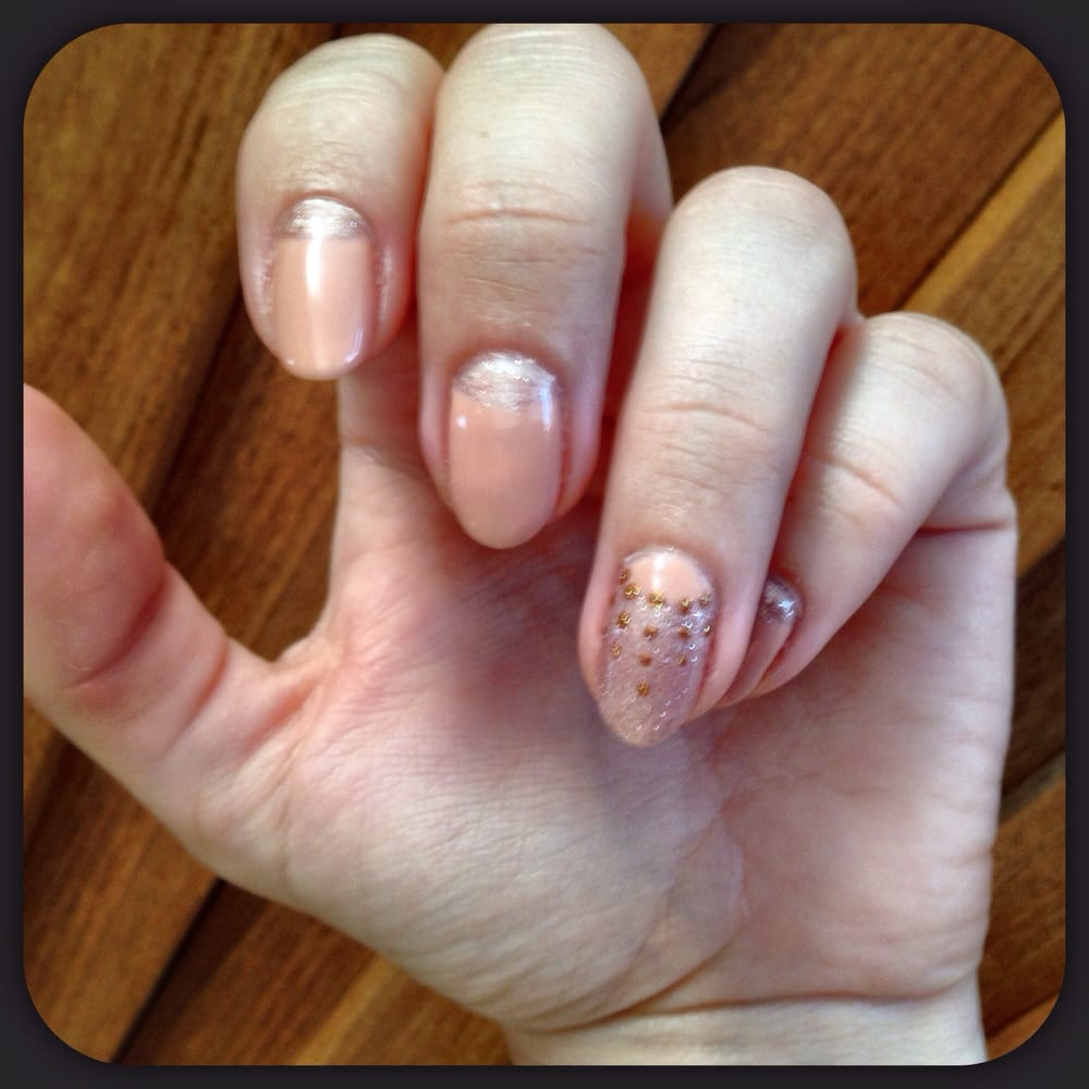 Nude with sparkle reverse French gel manicure design by Kim at Nu ...