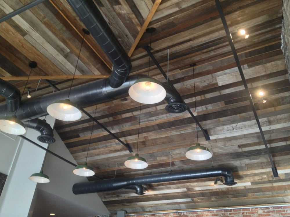 Reclaimed wood ceiling exposed hvac and lighting yelp photo of hub coffee roasters reno nv united states reclaimed wood ceiling mozeypictures Images