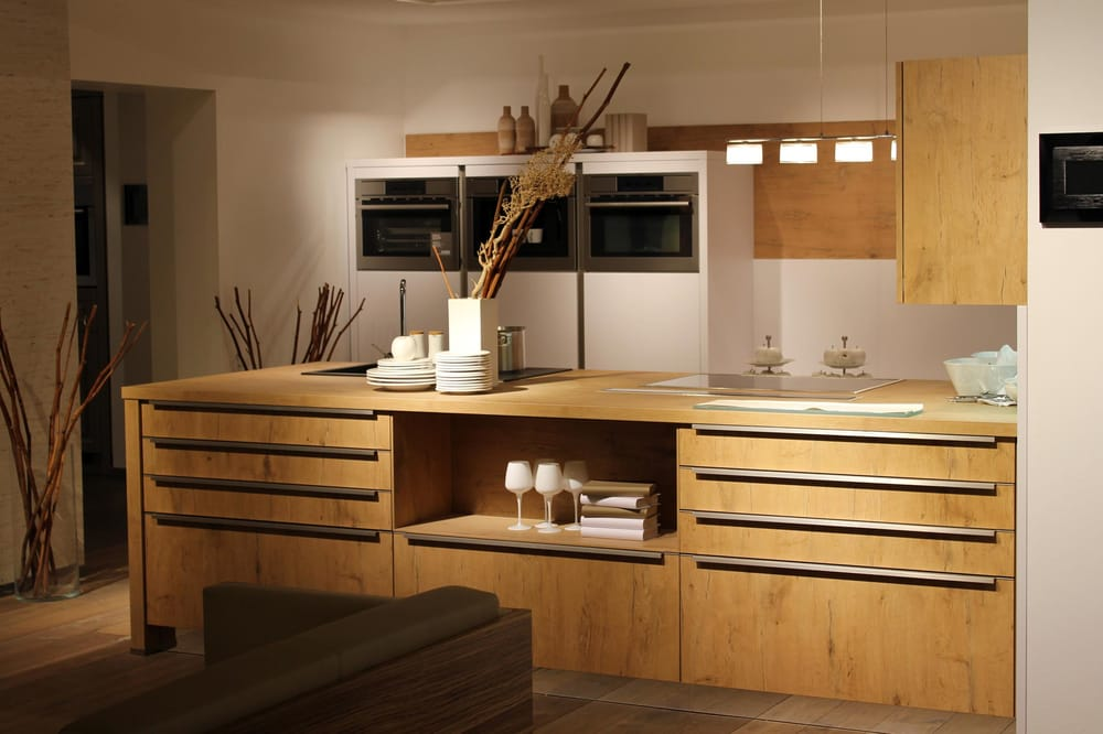 modern kitchen in wood finish bauformat european kitchen. Black Bedroom Furniture Sets. Home Design Ideas