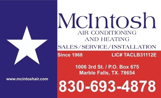 McIntosh Heating & Air Conditioning: 1006 3rd St, Marble Falls, TX