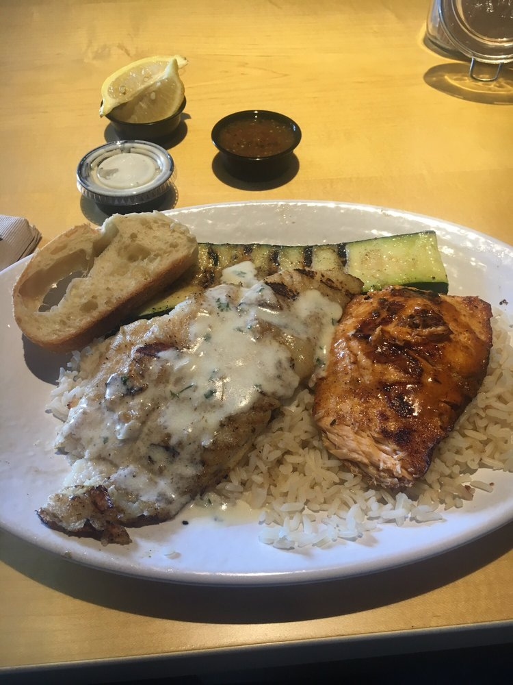 Salmon and swai combo yelp for California fish grill culver city ca