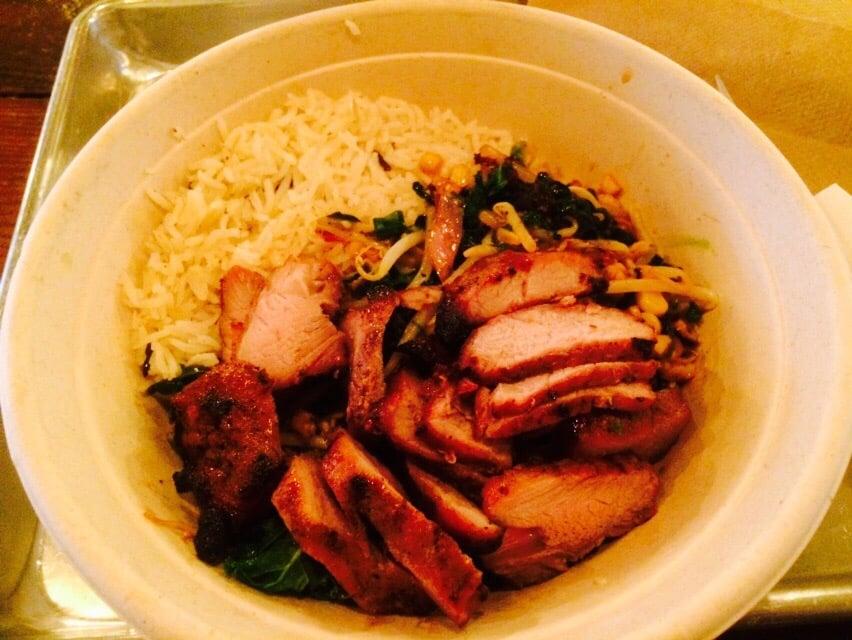 Ginger Hot Bowl W Ship Koji Marinated Pork Mixed Kale Jasmine Rice Roasted Corn