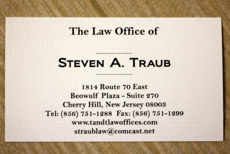 Business card for cherry hill nj lawyer steven a traub yelp photo of law office of steven a traub cherry hill nj united states reheart Image collections