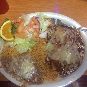 Shrimp enchiladas with rice, beans, and a salad!