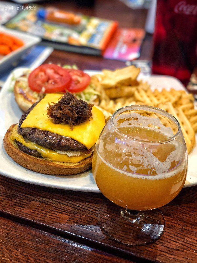 New Berlin burger with waffle fries  Short's Slurm Lord
