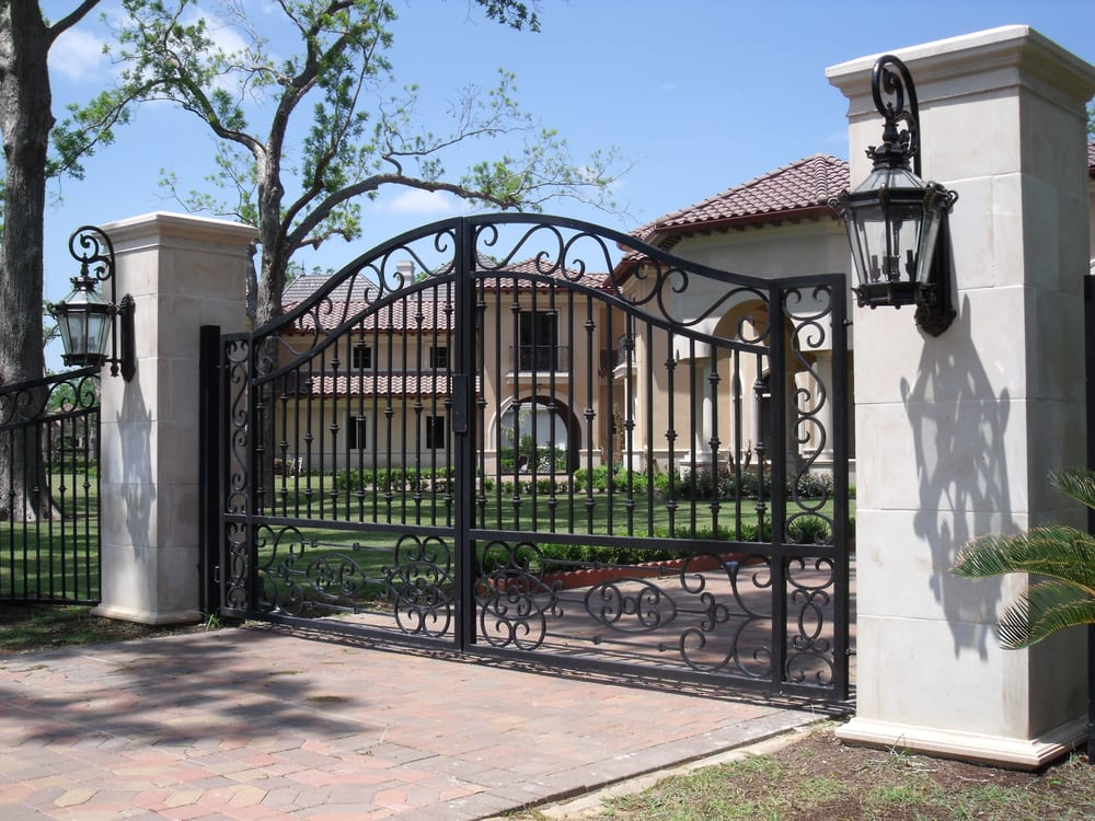 Scroll Gate With Cast Stone Columns Yelp