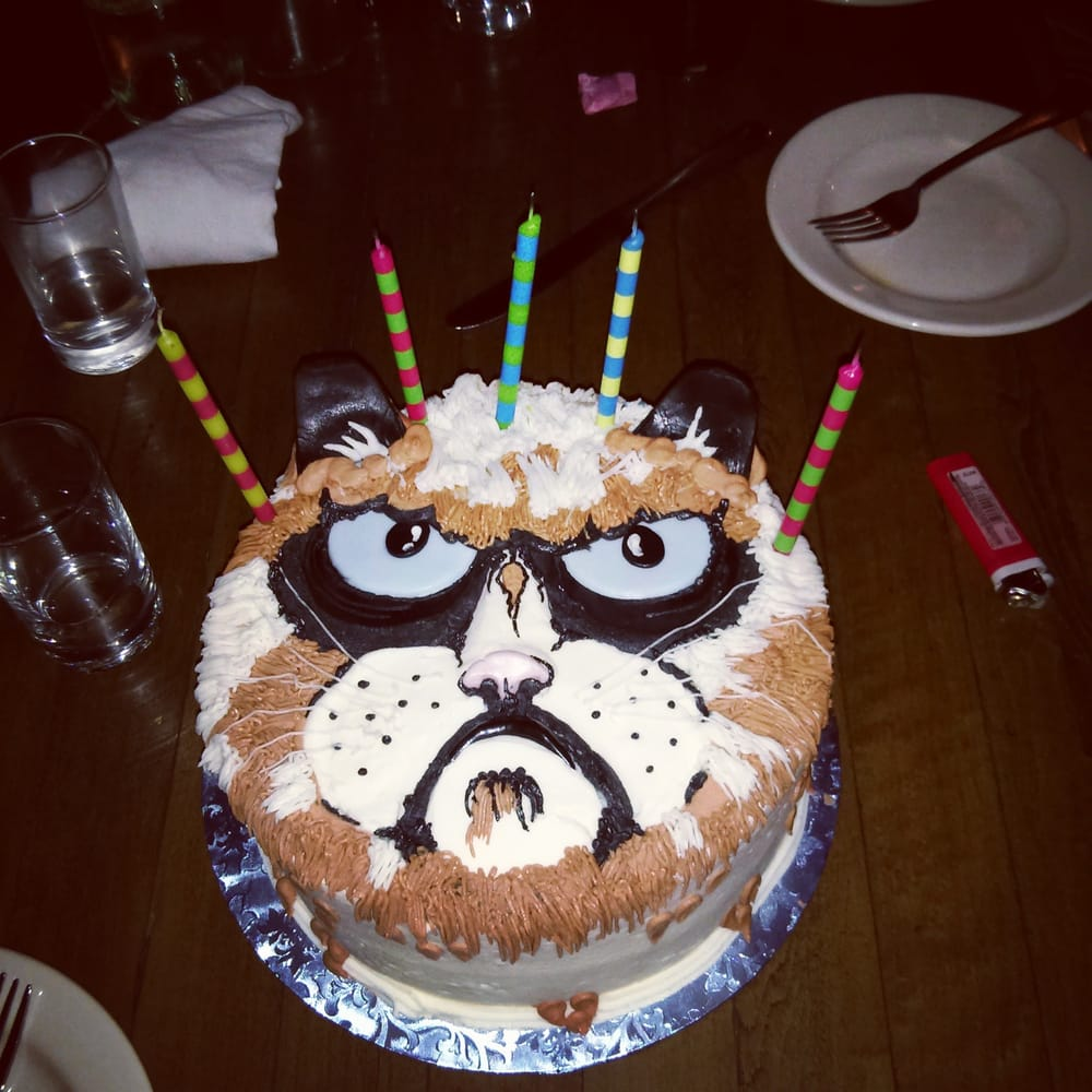 My sister ordered me a chocolate Grumpy Cat cake for my birthday