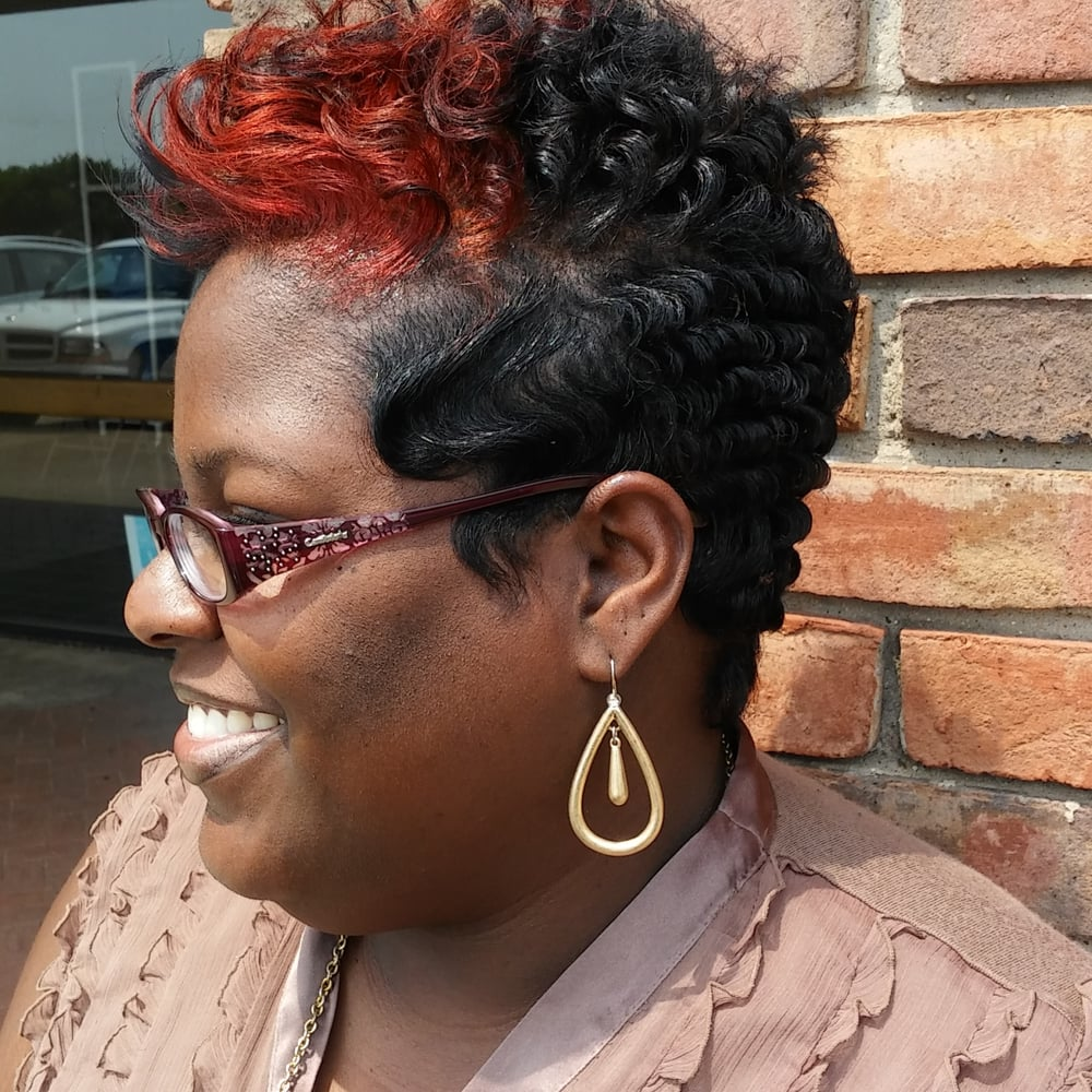 relaxing hair style relaxed hair with a pixie cut set with soft waves and 7739