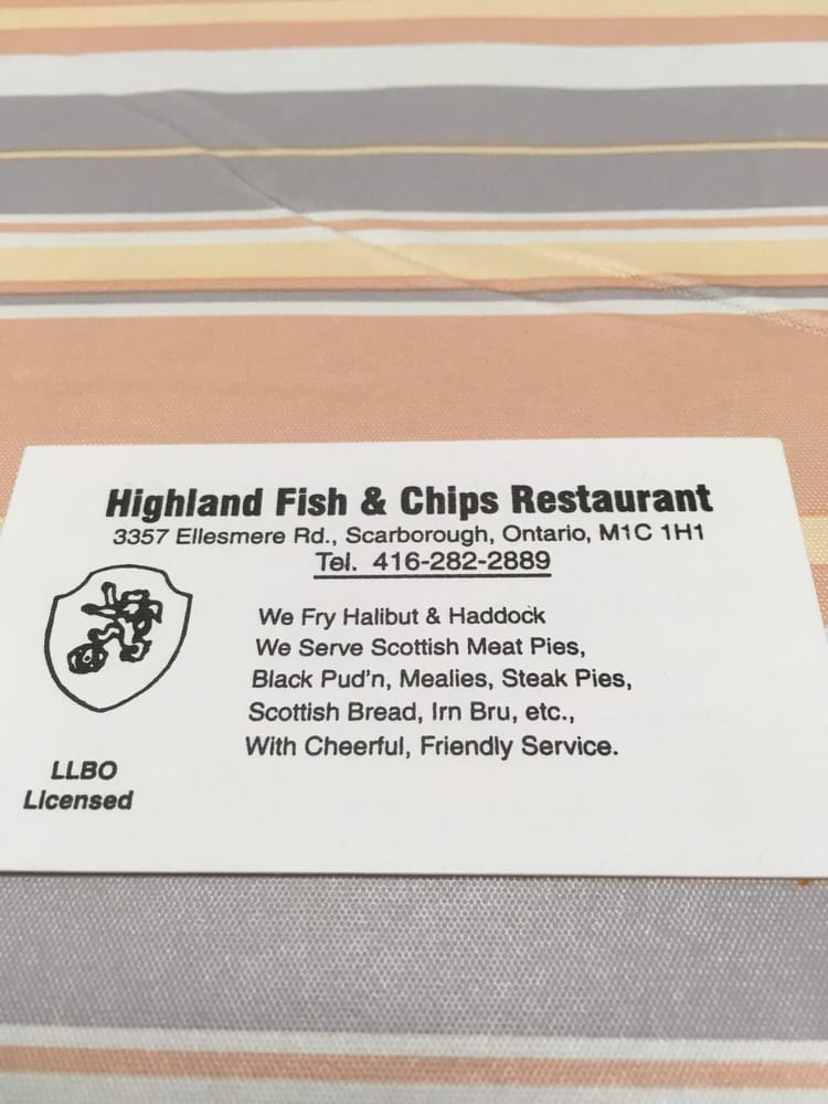 Business card for Highland fish & chips - Yelp