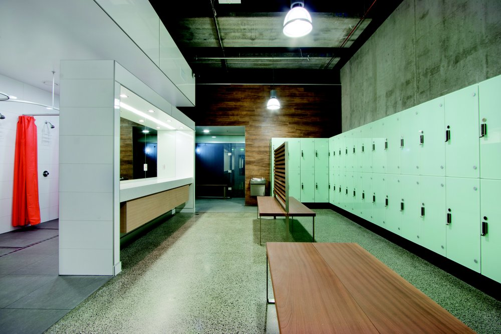 Locker rooms with digital lockers steam room and dry