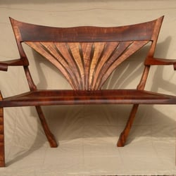 Photo Of Mike Riley Woodworker   Volcano, HI, United States. Curly Koa Bench