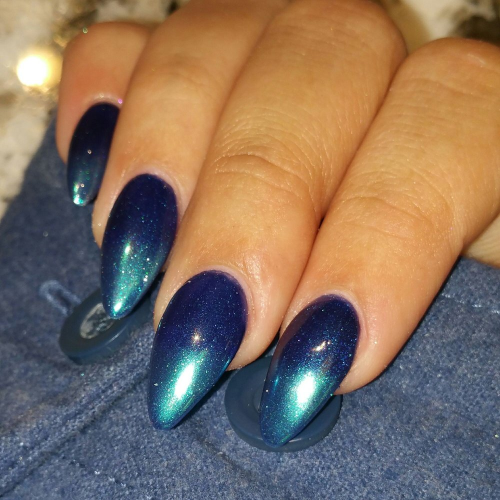 My favorite recently prom ready...caution by gelish tipped with blue ...