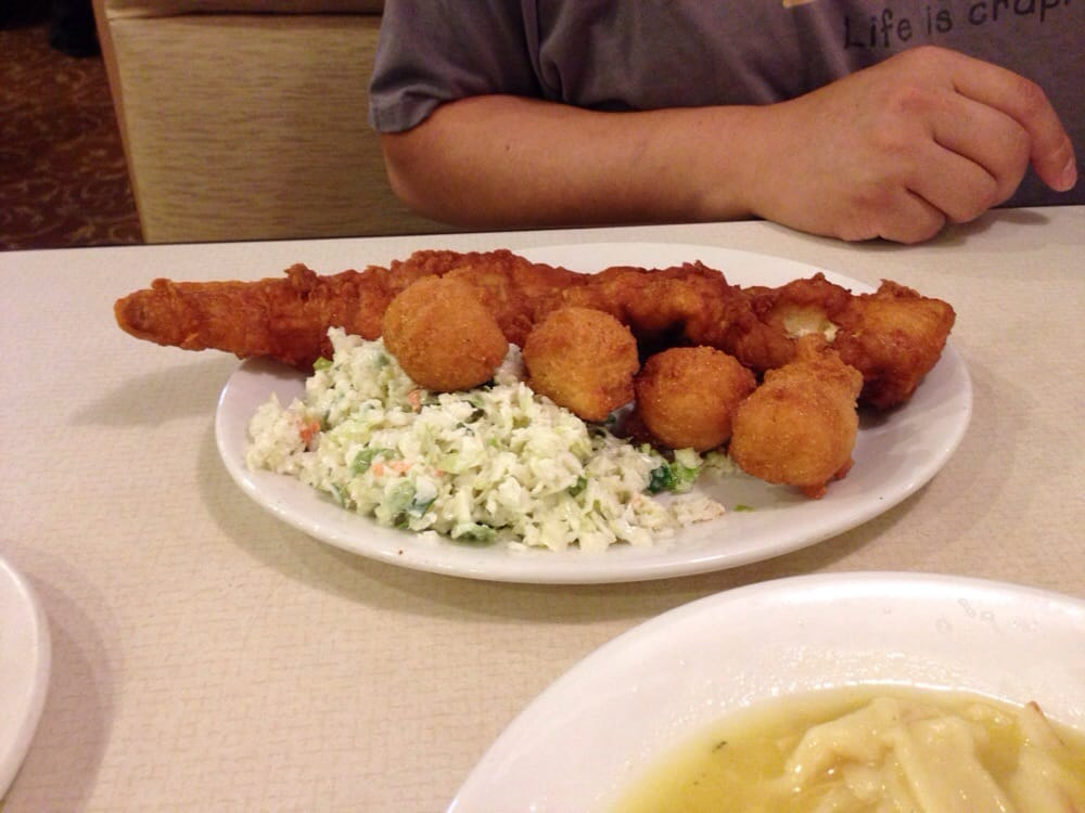 Fried fish with hush puppies and coleslaw yelp for Best fried fish near me