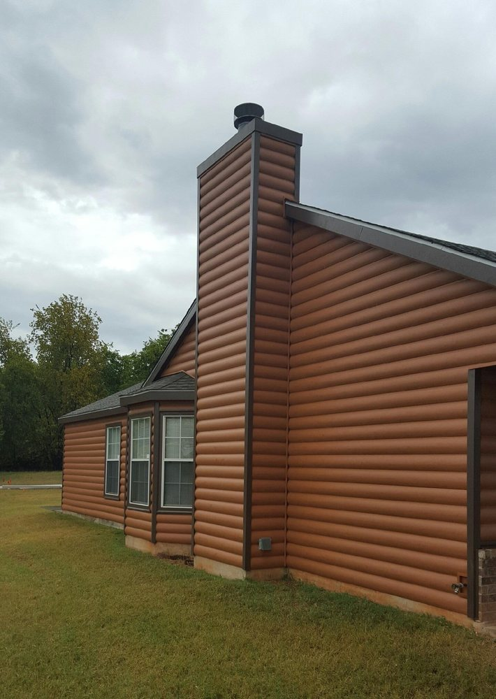 Photo Of Affordable Construction Co Norman Ok United States Vinyl Log Cabin