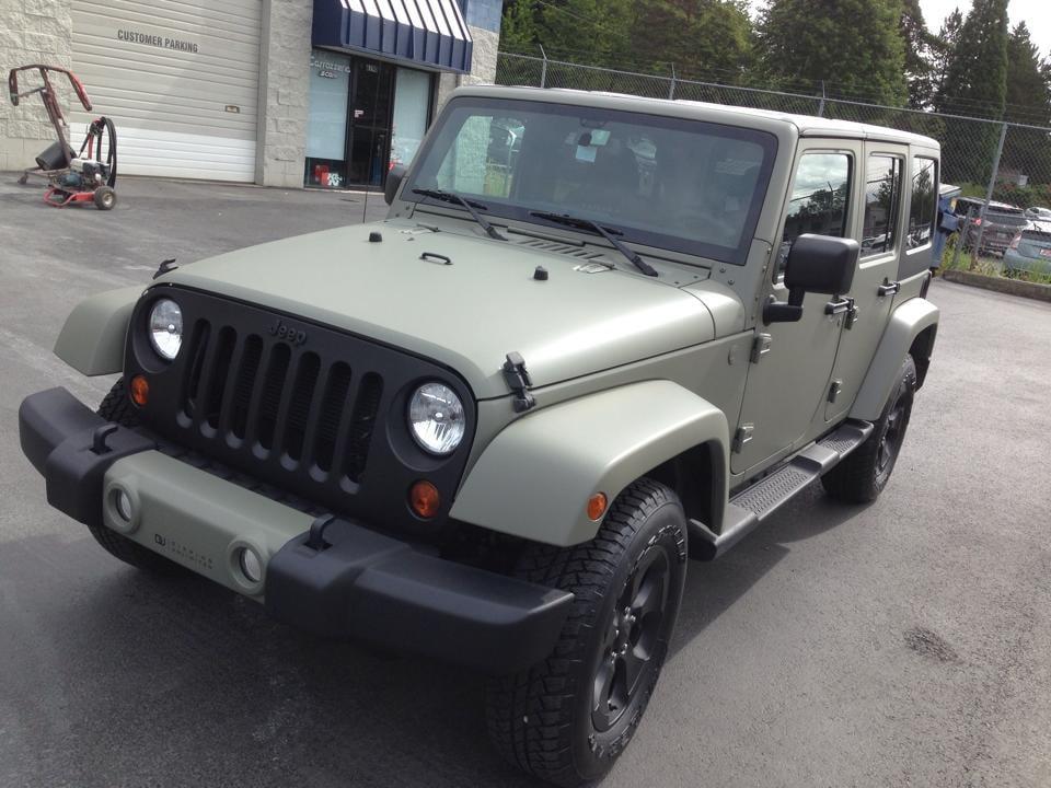 pics for gt jeep wrangler matte green