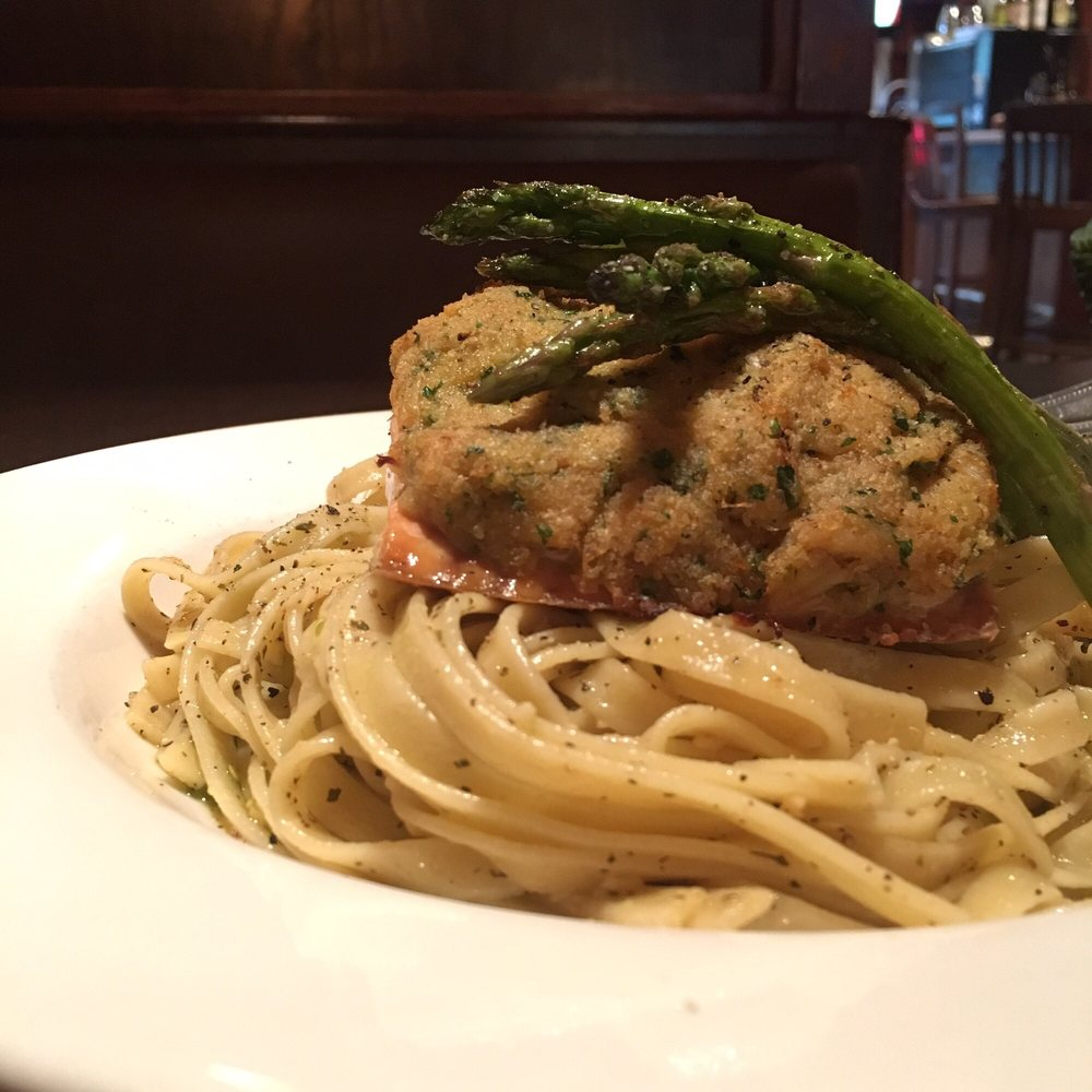 crab salmon topped tagliatelle - yelp